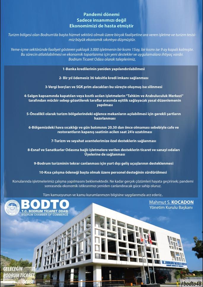 BODTO Başkanından kapalı işletmeler için çağrı!