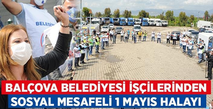 Balçova belediyesi işçilerinden sosyal mesafeli 1 Mayıs halayı