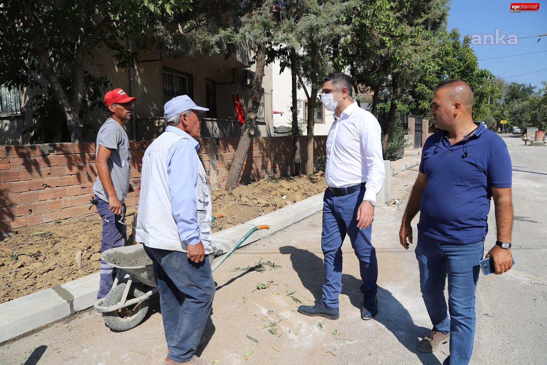 Başkan Mustafa Kayalar, Kaldırım Çalışmalarını İnceledi