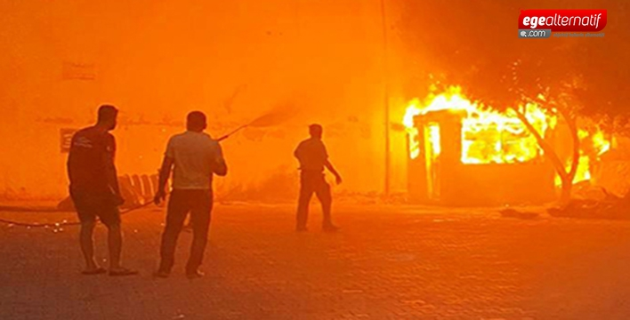 Bodrum'da Lastikçi yangını korkuttu!