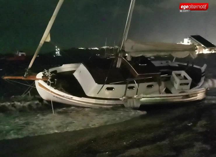 Bodrum'u fırtına vurdu! Tekneler karaya sürüklendi