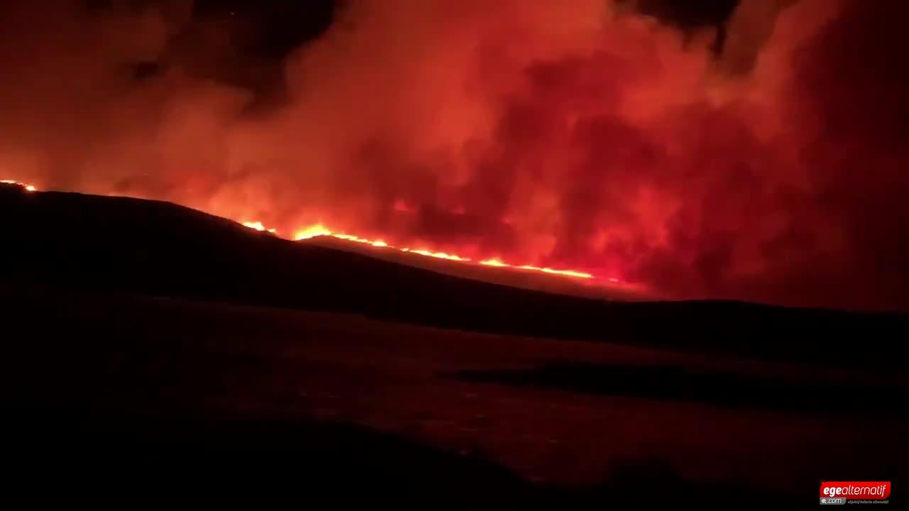 Çeşme'de korkutan yangın!